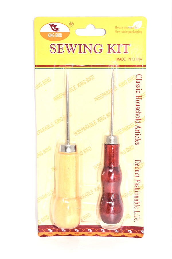 Wooden Handle Metal Stitcher Curved Hooked Crochet Needle & Sewing Awl, 2-ct.