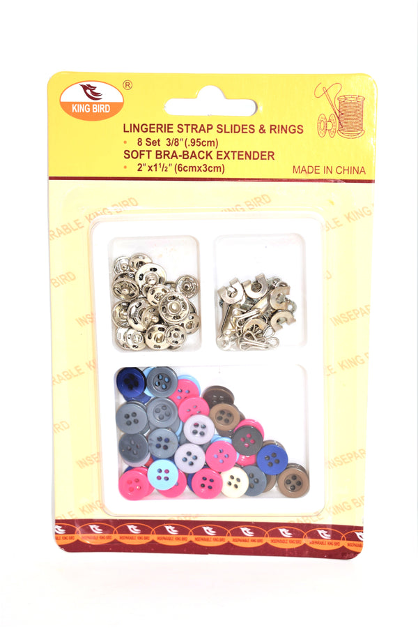Assorted Sewing Accessory Set - Sewing Buttons, Sewing Hooks, Sewing Eyes & Sewing Fasteners