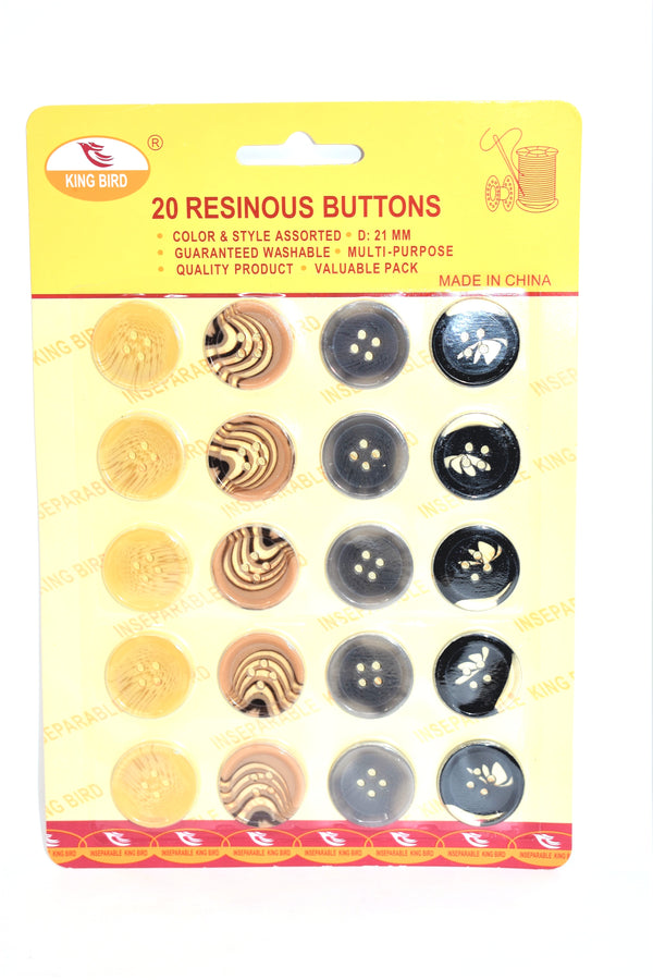 21mm Resinous Buttons, 20-ct.