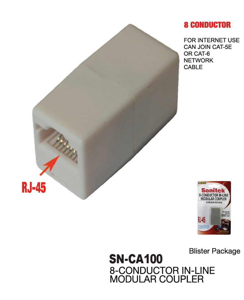 8-Conductor In-Line Modular Coupler RJ-45