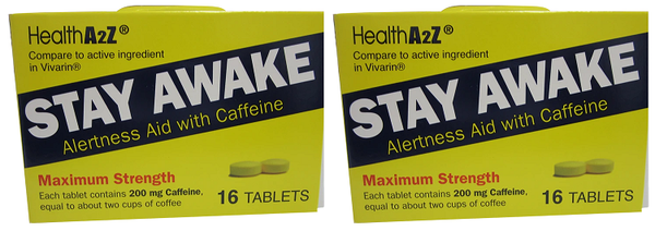 Health A2Z Stay Awake Alertness Aid with Caffeine, 16 Tablets (Pack of 2)