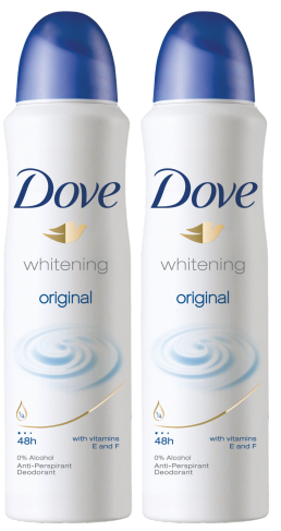 Dove Whitening Original Anti-Perspirant Body Spray, 150 ml (Pack of 2)