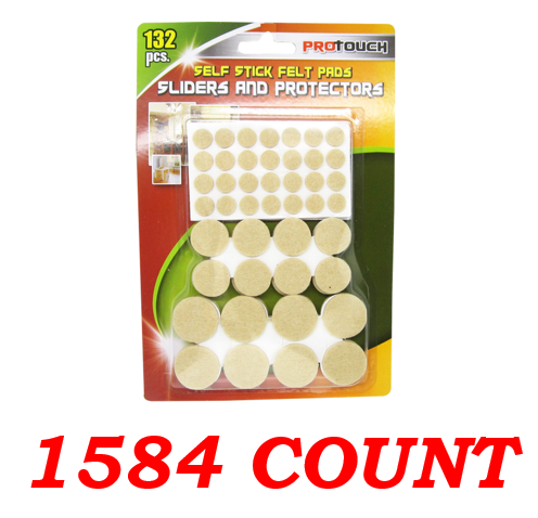 Self Stick Felt Pads, Assorted Sliders and Protectors, 1584-ct.