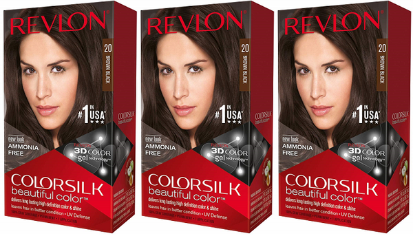 Revlon ColorSilk Beautiful Color™ Hair Color - 20 Brown Black (Pack of 3)