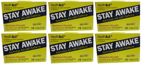 Health A2Z Stay Awake Alertness Aid with Caffeine, 16 Tablets (Pack of 6)