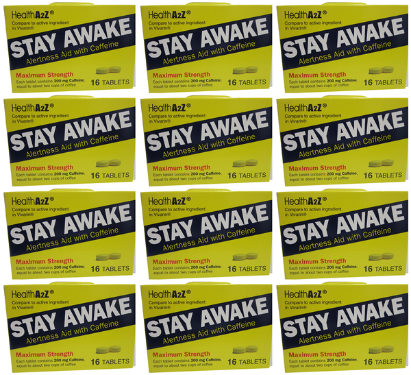 Health A2Z Stay Awake Alertness Aid with Caffeine, 16 Tablets (Pack of 12)