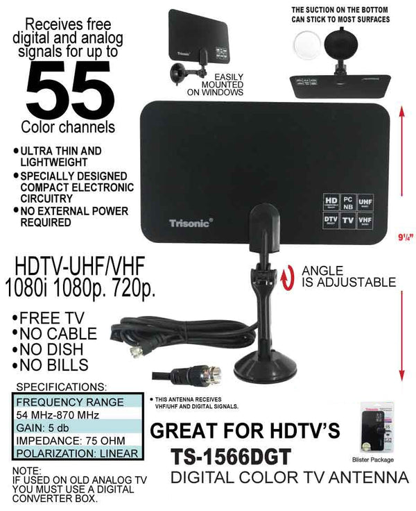 Digital Color HDTV TV Antenna, Up to 105 Channels