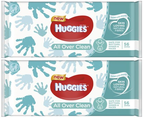 Huggies Baby Wipes All Over Clean, 56 Wipes (Pack of 2)