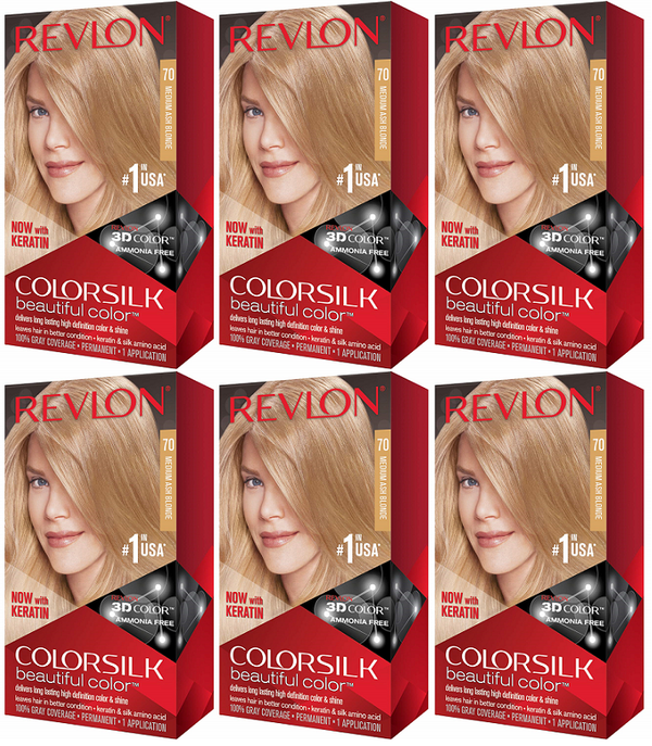 Revlon ColorSilk Beautiful Color™ Hair Color - 70 Medium Ash Blonde (Pack of 6)