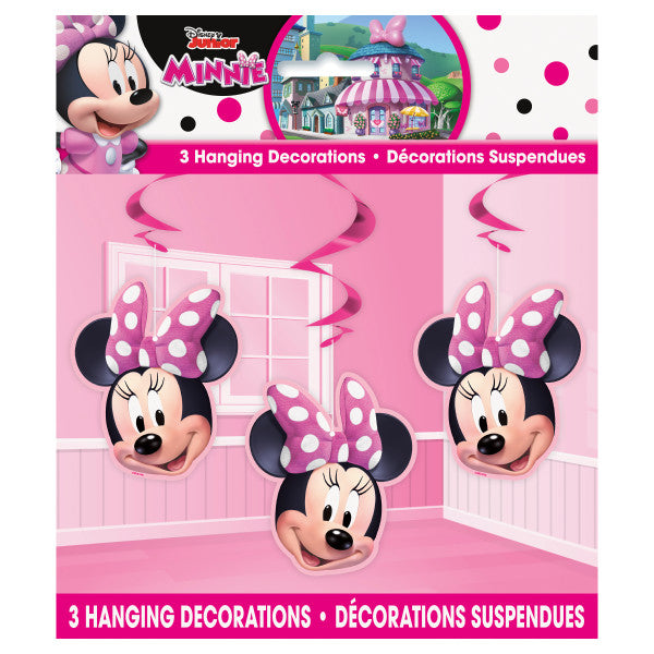 "Disney Iconic Minnie Mouse Hanging Swirl Decorations, 26"", 3ct"