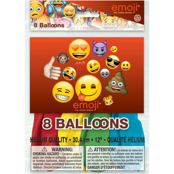 "Emoji 12"" Latex Balloons, 8ct"