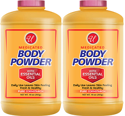 Medicated Body Powder with Essential Oils, 10 oz. (Pack of 2)