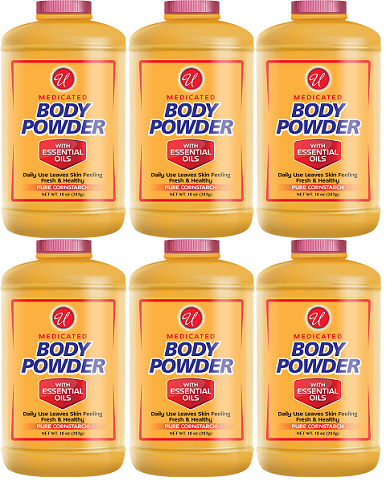 Medicated Body Powder with Essential Oils, 10 oz. (Pack of 6)