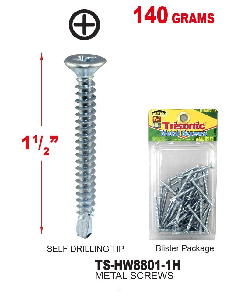 "1 1/2"" Metal Screws, 140 grams"