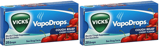 Vicks VapoDrops Cough Relief Cherry Flavor, 20 Drops (Pack of 2)