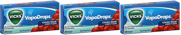 Vicks VapoDrops Cough Relief Cherry Flavor, 20 Drops (Pack of 3)