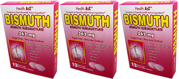 Health A2Z Bismuth 262 mg, 12 Chewable Tablets (Pack of 3)