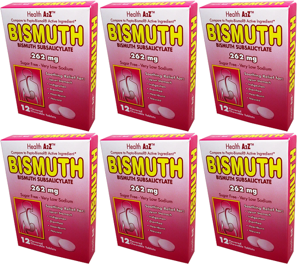 Health A2Z Bismuth 262 mg, 12 Chewable Tablets (Pack of 6)
