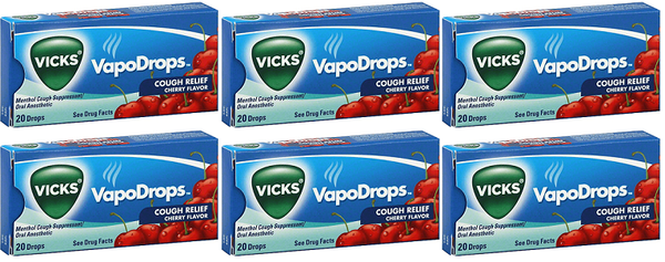Vicks VapoDrops Cough Relief Cherry Flavor, 20 Drops (Pack of 6)