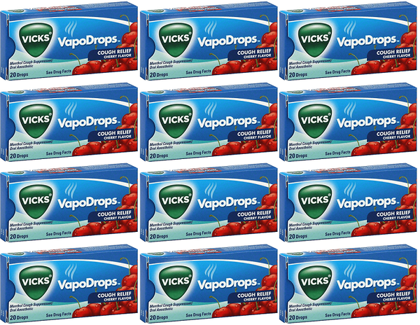 Vicks VapoDrops Cough Relief Cherry Flavor, 20 Drops (Pack of 12)