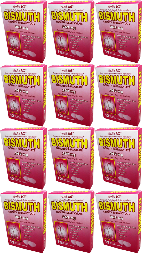 Health A2Z Bismuth 262 mg, 12 Chewable Tablets (Pack of 12)