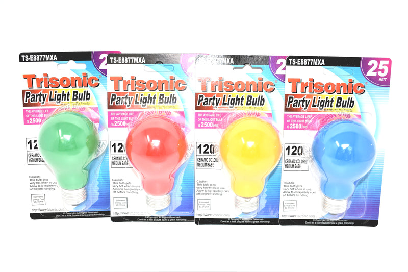 25 Watt Red, Green, Yellow and Blue Party Light Bulbs, Set of 4