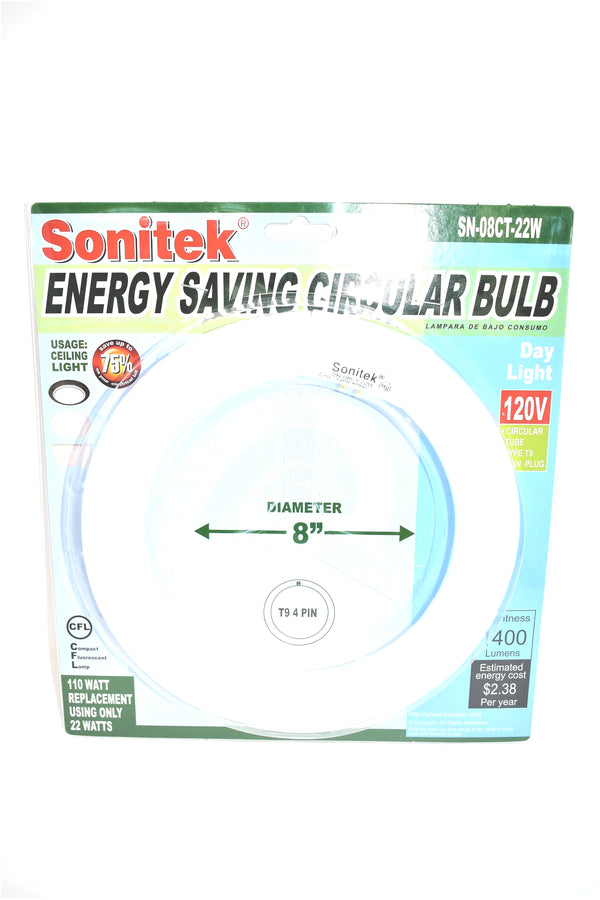 "8"" Diameter Ceiling Light Energy Saving Circular Bulb, 22 Watts (110 Equivalent)"