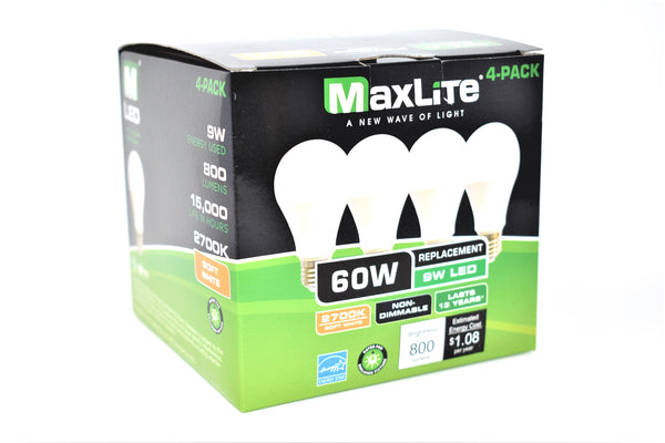 MaxLite 2700K Soft White 60W Replacement 9W LED Light Bulbs, 4 ct.