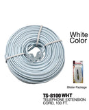 Modular Extension Phone Cord, 100 ft., White