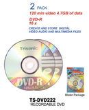 DVD-R, 120 Minutes, 4.7 GB, 16x Digital, 2-ct.