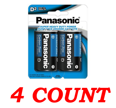 Panasonic D Super Heavy Duty Power Batteries, 4 ct.