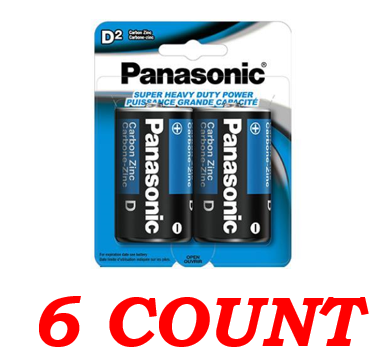 Panasonic D Super Heavy Duty Power Batteries, 6 ct.