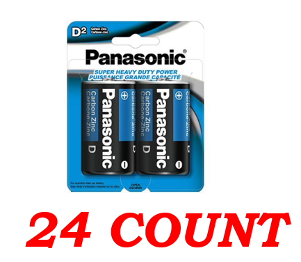 Panasonic D Super Heavy Duty Power Batteries, 24 ct.
