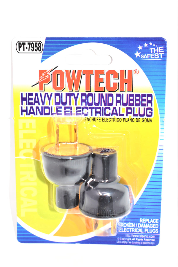 Heavy Duty Round Rubber Handle Electrical Plug, 2-ct.