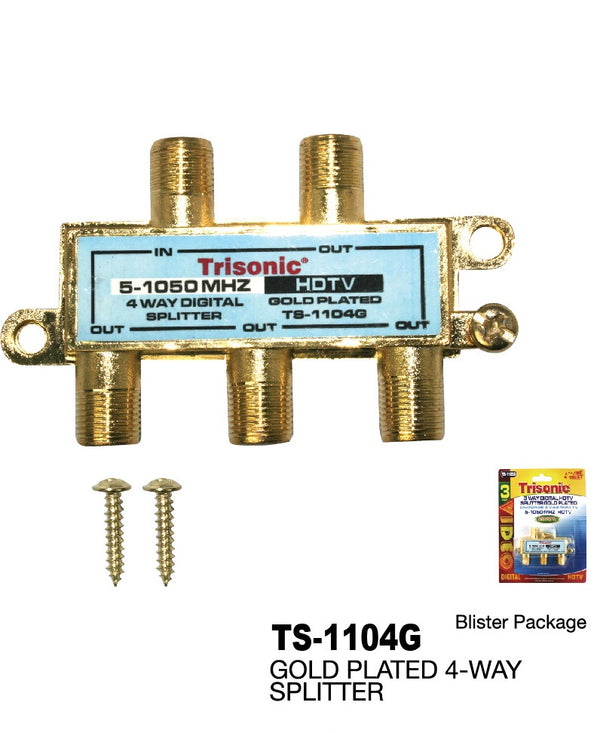 4 Way Digital HDTV Splitter Gold Plated