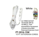 3 Outlet Grounded Heavy Duty Indoor Extension Cord, 15 ft.