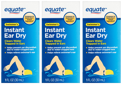Equate Swimmer's Instant Ear Dry Isopropyl Alcohol 95% 1 oz. EXP 5/21 Pack of 3