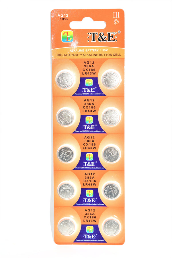 T&E AG12 386A CX186 LR43W 1.55V Alkaline Battery, 10 Ct.