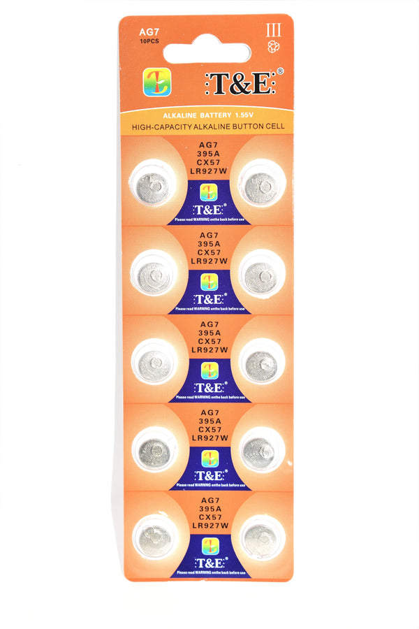 T&E AG7 395A CX57 LR927W Alkaline Battery, 10 Ct.
