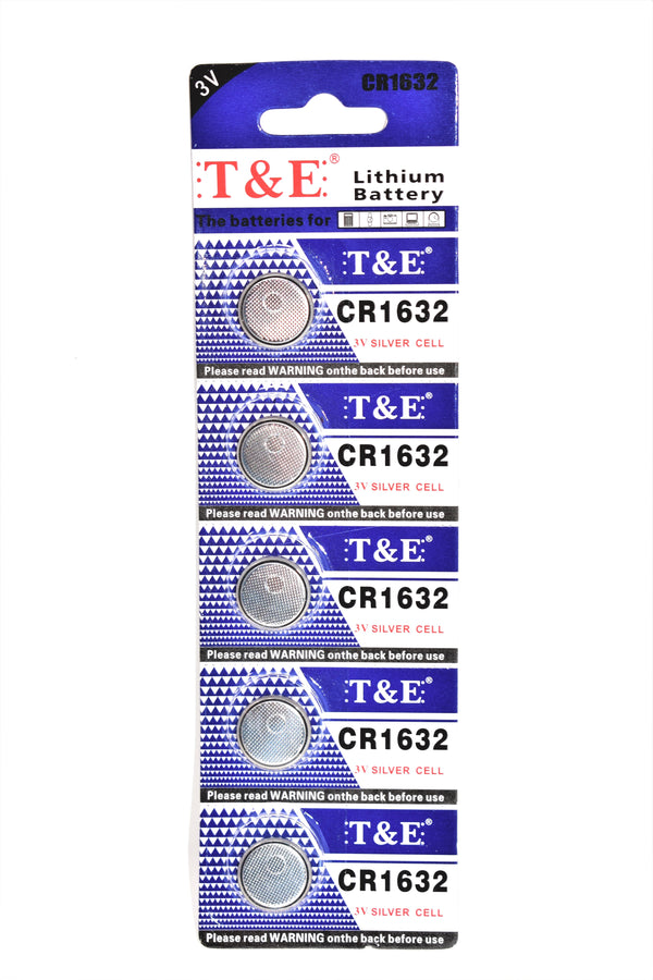 T&E CR1632 3V Silver Cell Lithium Battery, 5 Ct.