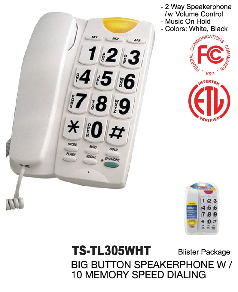 White Big Button Speakerphone With 13 Memory Speed Dial Telephone