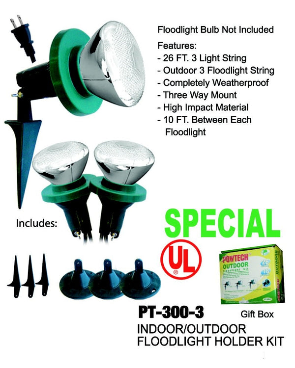 Outdoor Floodlight Kit, 3-ct.