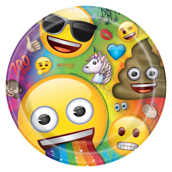 "Rainbow Fun Emoji Round 9"" Dinner Plates, 8ct"