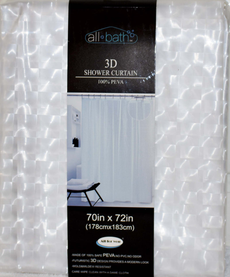 "All Bath 3D Shower Curtain 70"" x 72"" Clear Color, 1-ct"
