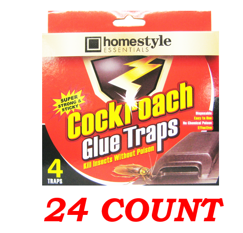 Homestyle Essentials Super Strong & Sticky Cockroach Glue Traps, 24-ct.