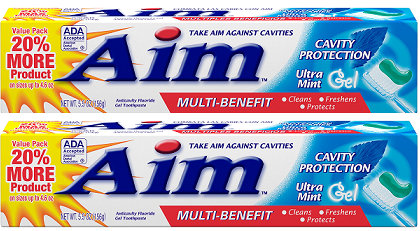 Aim Cavity Protection Ultra Mint Gel Toothpaste, 5.5 oz. (Pack of 2)