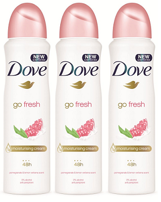 Dove GO Fresh Pomegranate & Lemon Verbena Antiperspirant, 150ml (Pack of 3)