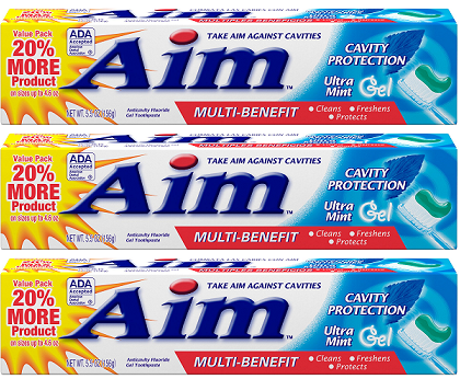 Aim Cavity Protection Ultra Mint Gel Toothpaste, 5.5 oz. (Pack of 3)