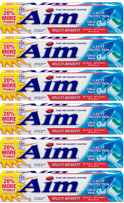 Aim Cavity Protection Ultra Mint Gel Toothpaste, 5.5 oz. (Pack of 6)