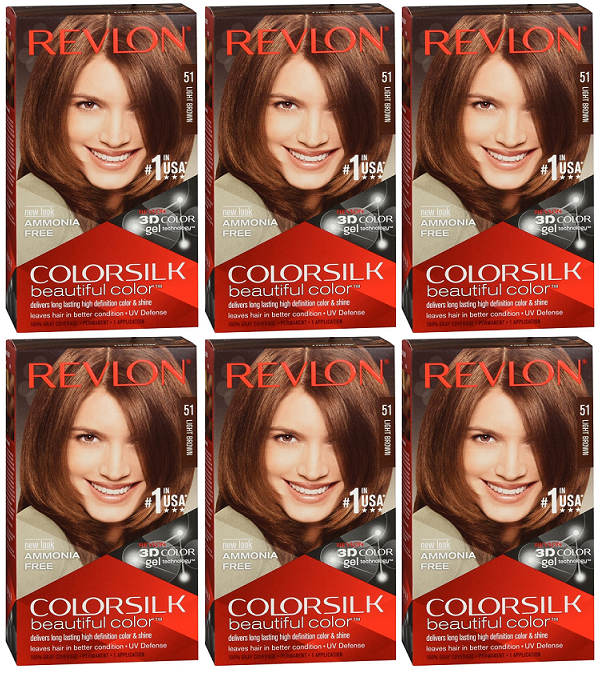 Revlon ColorSilk Beautiful Color™ Hair Color - 51 Light Brown (Pack of 6)